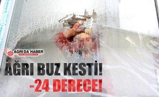 Ağrı Buz Kesti! Hava Sıcaklığı -24 derece!