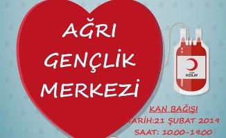 Ağrı Gençlik Merkezinde Kan Bağışı Kampanyası