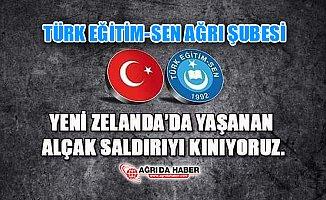 Türk Eğitim-Sen Ağrı Şubesinden  Yeni Zelanda'da ki Saldırıya Kınama