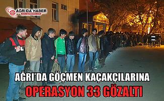 Ağrı'da Göçmen Kaçakçılarına Operasyon! 33 kişi Gözaltında