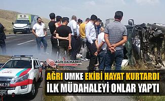Ağrı UMKE Ekibi Horasan'da Yaşanan Trafik Kazasına İlk müdahaleyi Yaptı