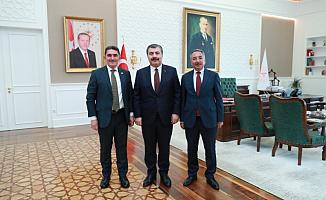 Rektör Karabulut ve Milletvekili Çelebi'den Sağlık Bakanı Fahrettin Koca'ya ziyaret
