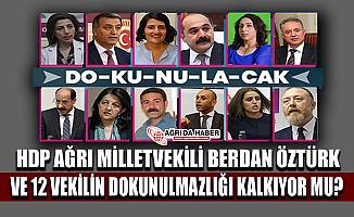 HDP Ağrı Milletvekili BerdanÖztürk ve 12 Vekilin Dokunulmazlığı Kaldırılıyor mu?
