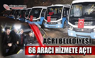 Ağrı Belediyesi Bakan Albayrak'ın Katılımıyla 66 Aracı Hizmete Başlattı