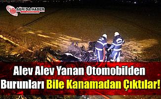 Alev Alev Yanan Otomobilden Burunları Bile Kanamadan Çıktılar!