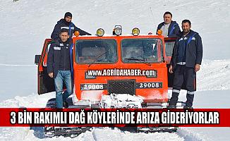 Ağrı'da 3 bin rakımlı karlı dağ köylerinde elektrik arızası giderildi