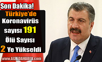 Türkiye'de Koronavirüs Sayısı 191 Ölü sayısı 2'ye Yükseldi