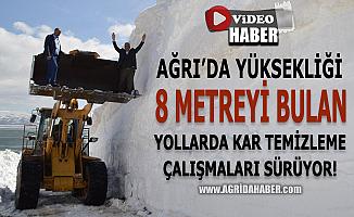 Ağrı'nın Yüksek Köylerinde 8 metreyi bulan karla kaplı yollar açılıyor