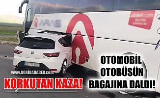 Ağrı'dan Erzurum'a giden araç Otobüsün bagajına girdi