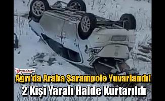 Ağrı'da Araba Şarampole Yuvarlandı! 2 Kişi Yaralandı