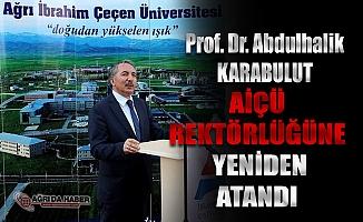 Abdulhalik Karakubulut Yeniden AİÇÜ Rektörlüğüne Atandı