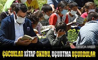 Çocuklar Ağrı'nın kırlarında kitap okuyup uçurtma uçurdu