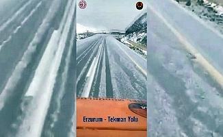Erzurum'a mevsimin ilk karı düşmeye başladı