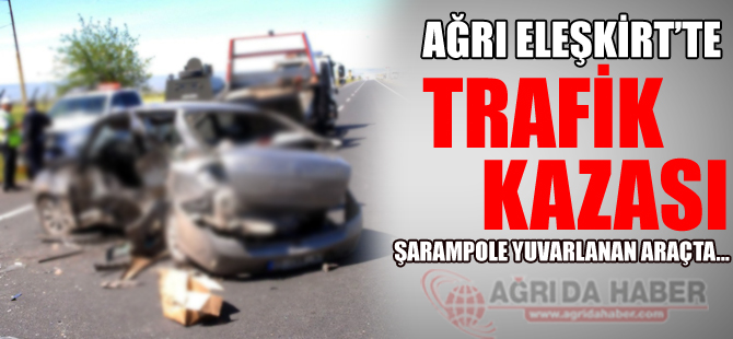 Ağrı Eleşkirt'te Otomobil Şarampole Yuvarlandı