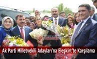 Ak Parti Ağrı Milletvekili Adayları Eleşkirt'te Çiçeklerle Karşılandı