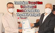 Tandoğan Topçu'dan Vefa Sosyal Destek Grubu'na Teşekkür Belgesi